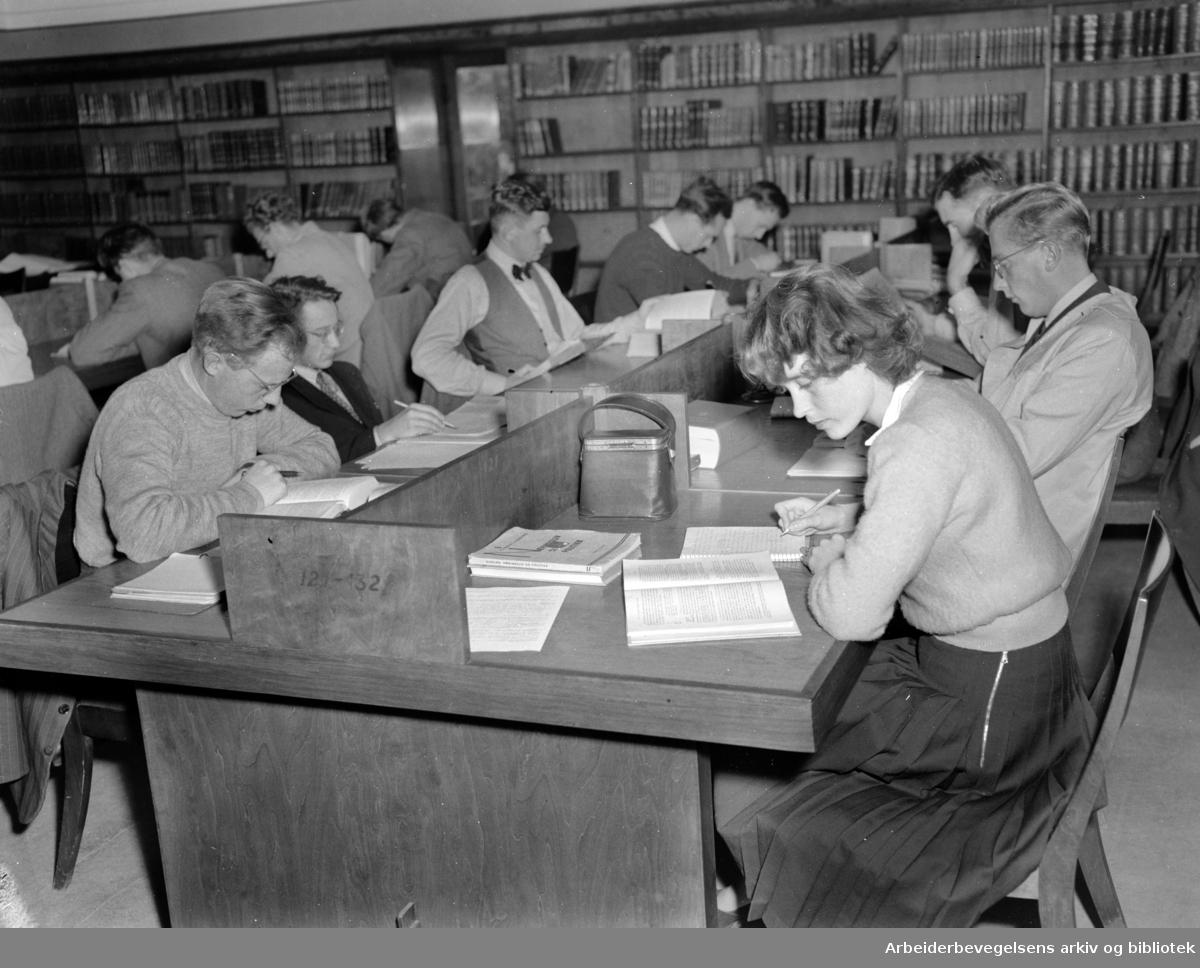 Universitetsbiblioteket. Lesesalen. Oktober 1948