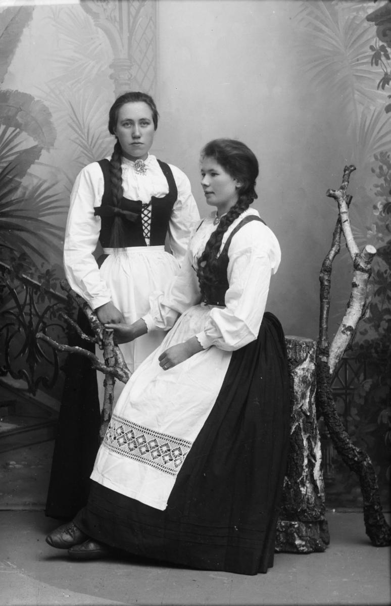 To kvinner i nasjonaldrakt, hvor Marit Røine sitter på en stol og Berthe Marie Skjervum står ved siden av.