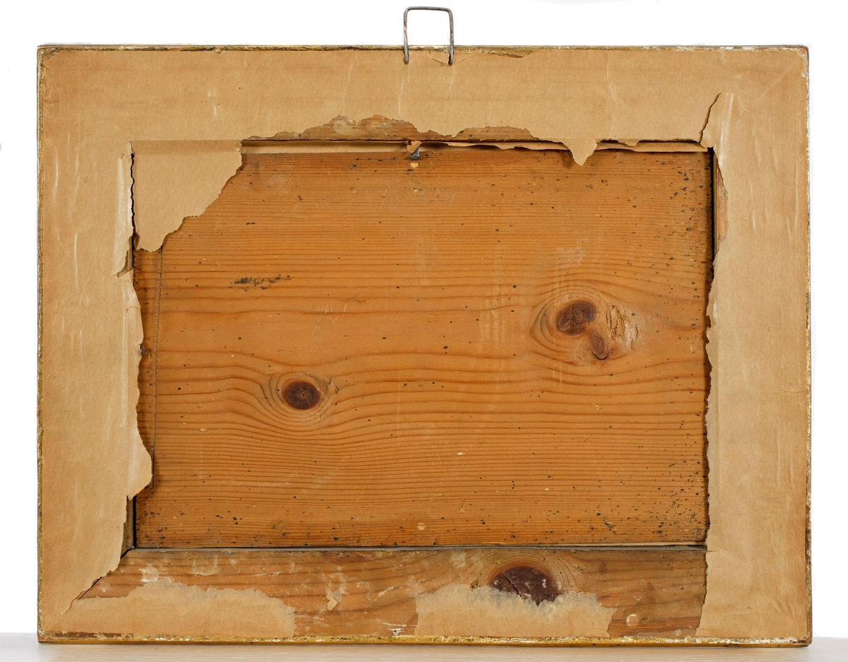 Glasmålning Hund anfaller några gäss som ligger på rede i vassen.  Ej signerad.  Förgylld ram med hålkäl.