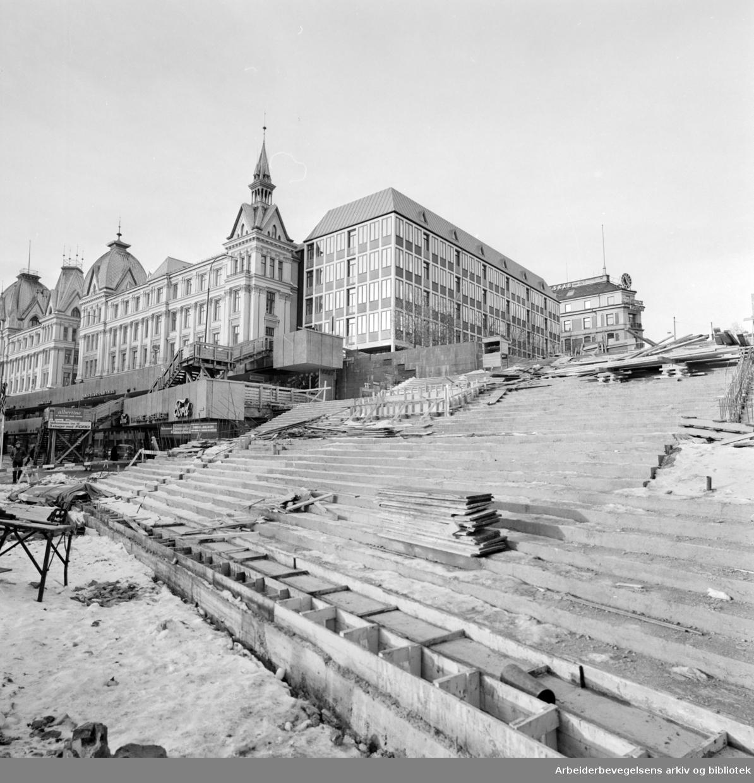 Vikaterrassen. Utbyggingen av Vestre Vika og varehusene. November 1971