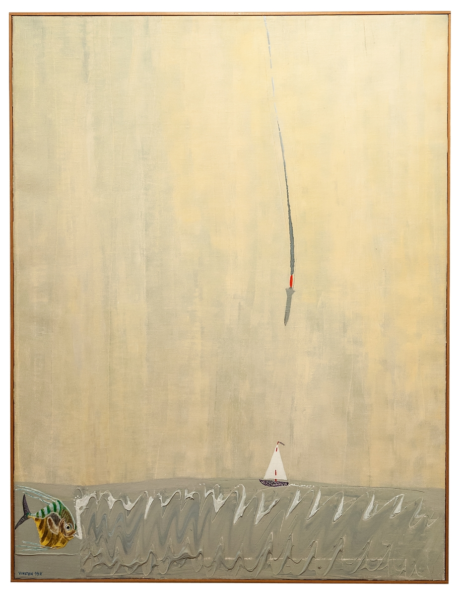 """Text på målningens baksida: """"Människoskeppet seglar genom livet, går i storm över bränningar, vilar ut i stiltje. En fiskform söker föda. Som ett domedagstecken kommer krigsprojektilen från skyn. Skeppet slås i spillror, fisken dör.""""  Ramad med tunn omålad trälist, troligen originalram."""