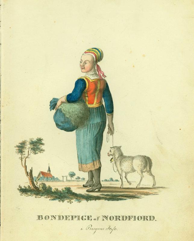 Norsk «hyrde»-romantikk fra tidlig 1800-tall. Tegning av F. L. Dreier. (Foto/Photo)