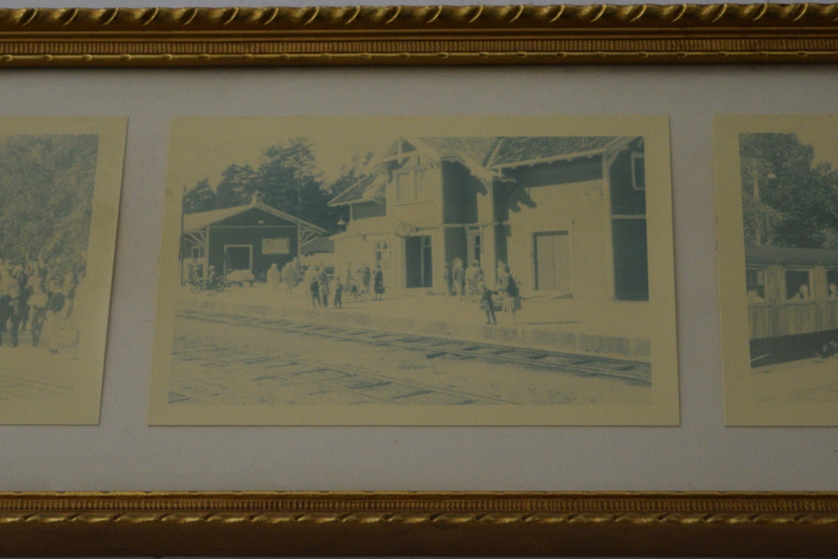 Fotografiene viser lokomotiv med krans, mennesker utenfor stasjonen og vogner.