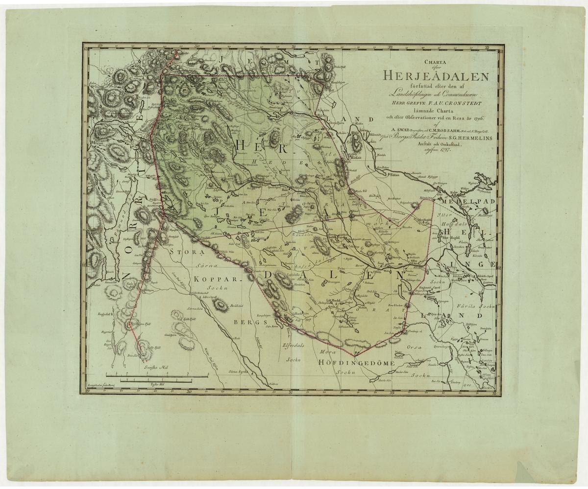 Karta över Härjedalen, från år 1797.