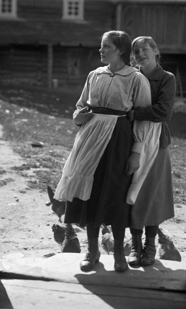 Nordigard Storvik, to unge kvinner med høneflokken
