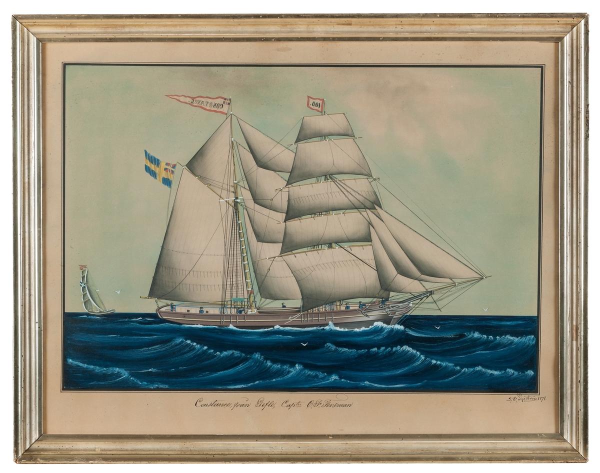 """Lars Petter Sjöström, """"Constance från Gefle"""", från 1878 i originalram."""