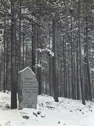 Staffanstenen i Själstuga, Skog 16 februari 1952.