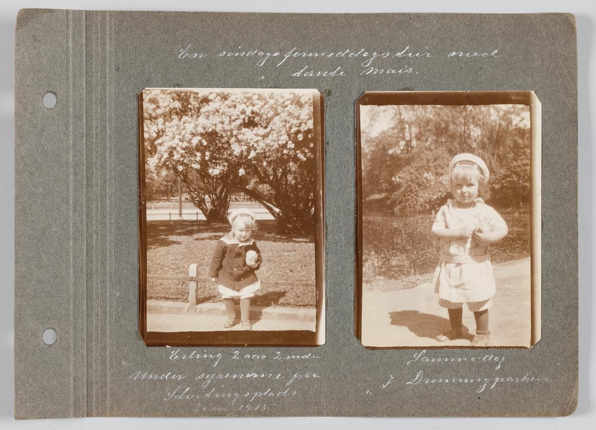 Bildet til venstre: Erling Michelsen juni,1915, på Stortings plass i Oslo. Bildet til høyre: Erling Michelsen juni 1915, i Dronningparken i Oslo.