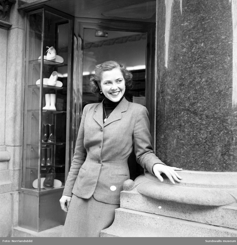 Ulla Norberg står vid entrén till Ålunds skoaffär på Storgatan 34, samt två bilder från en park.