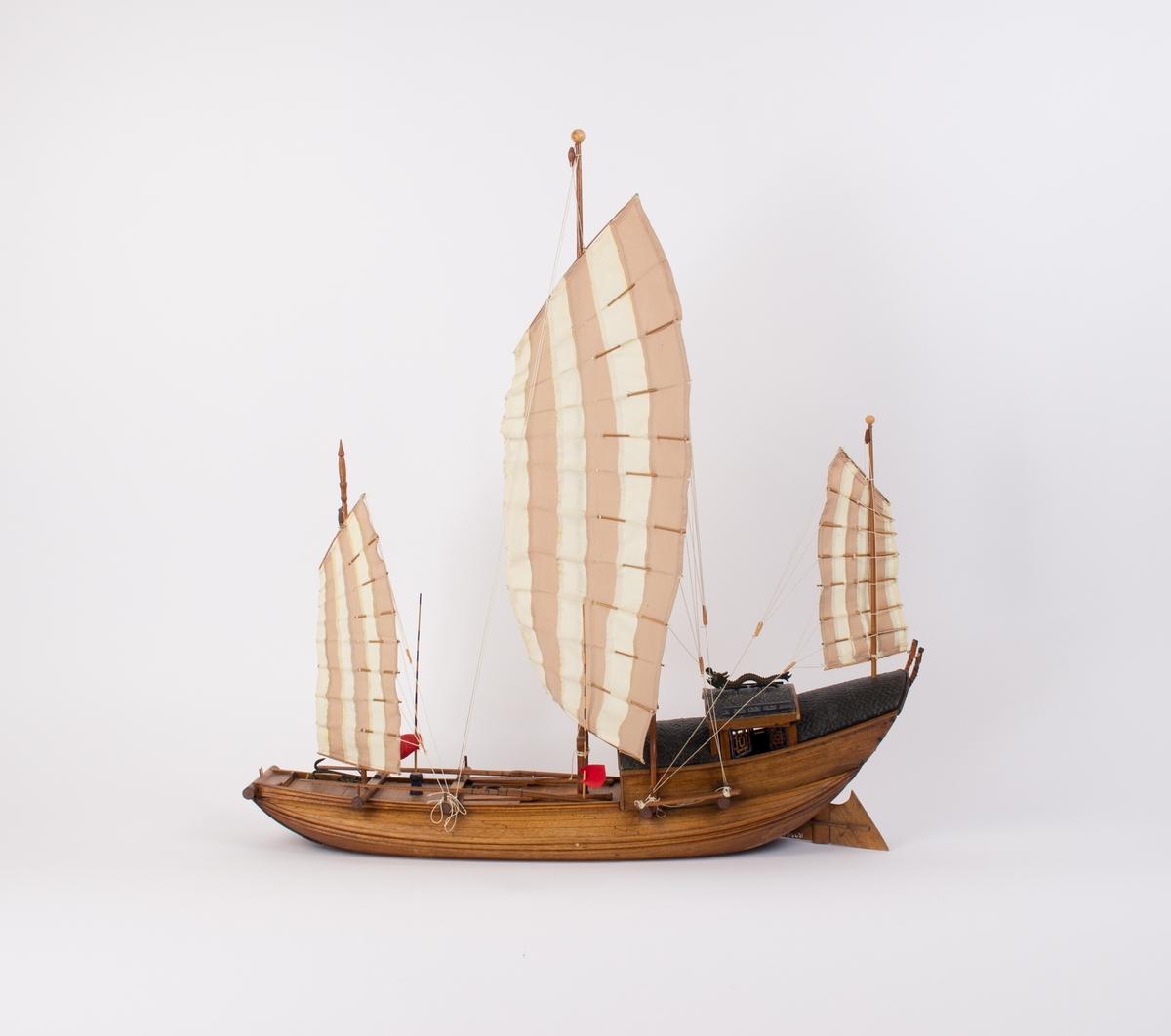 Modell av kinesisk djunke med tre master og segl.