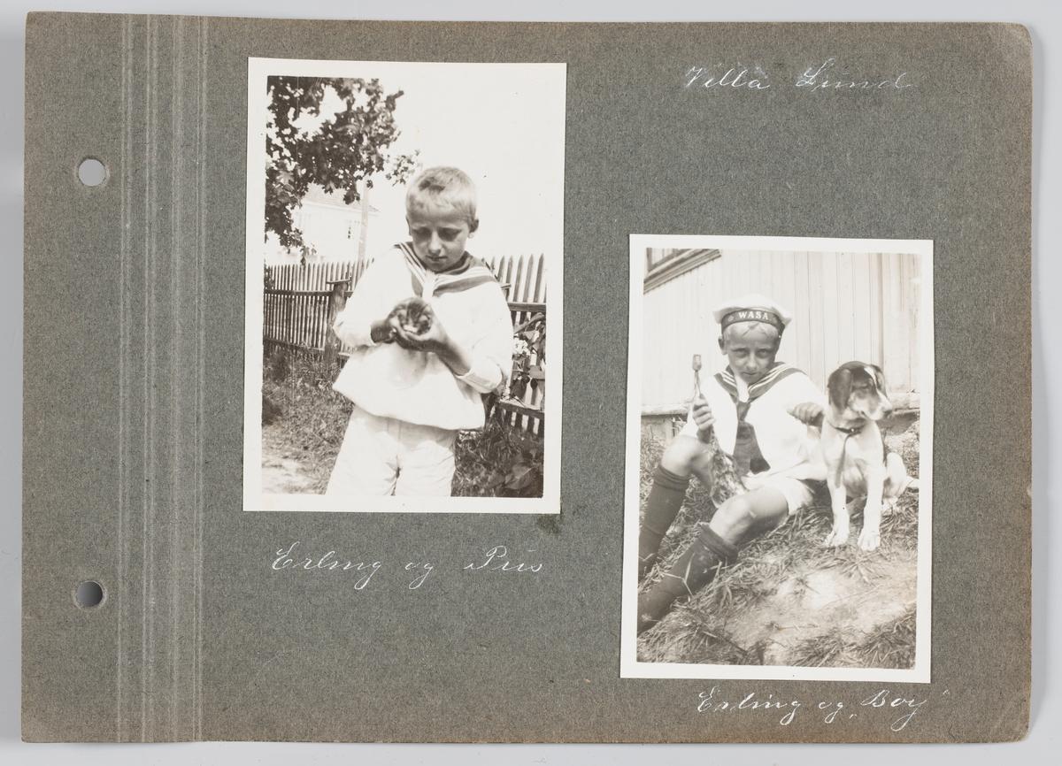 Bilde til venstre: Erling Michelsen med kattunge Bilde til høyre: Erling Michelsen med hunden Boy