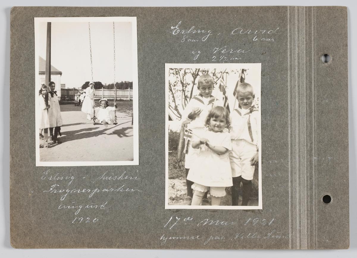 Bilde til venstre: Erling Michelsen husker i Frognerparken, august 1920. Bilde til høyre: Erling, Vera og Arvid Michelsen 17.mai 1920, Villa lund, Strømmen.