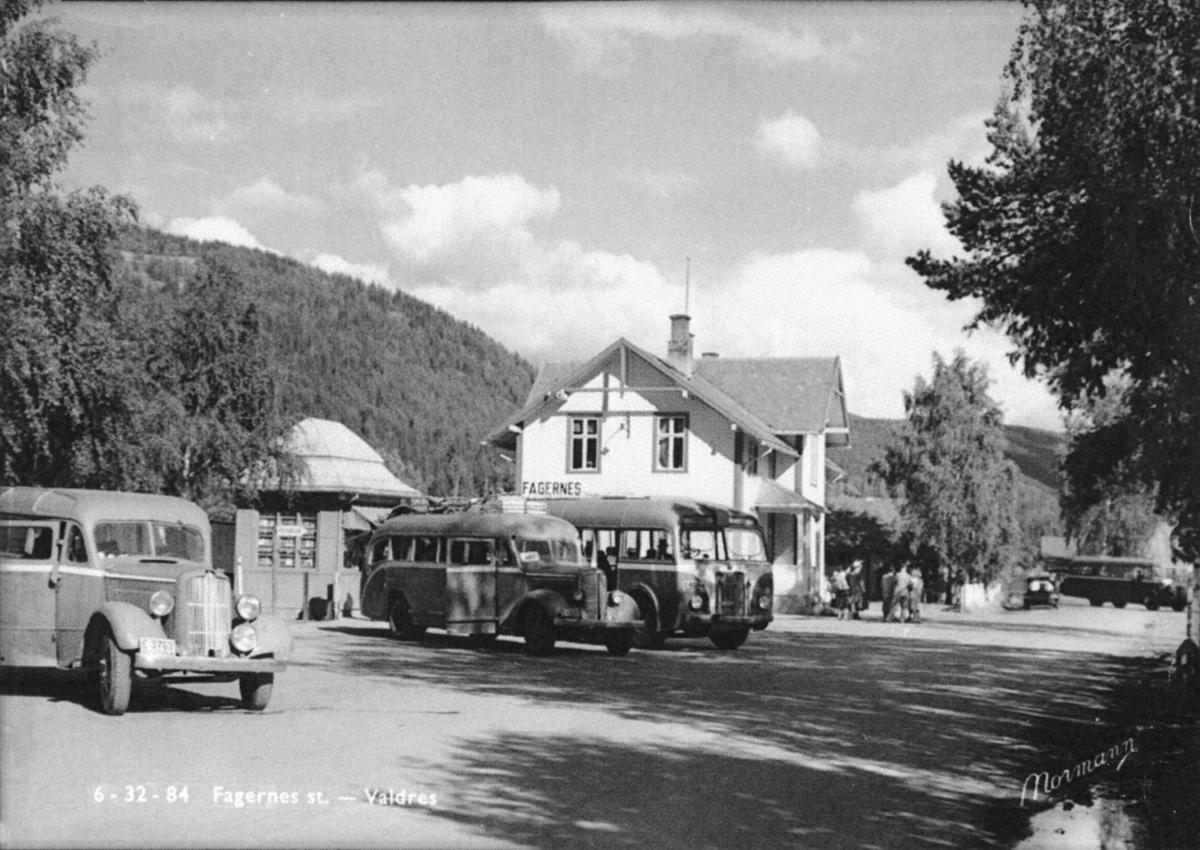 Fagernes jernbanestasjon i 1949.