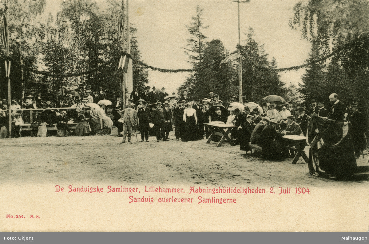 Postkort: De Sandvigske Samlinger, åpningshøytideligheten i 1904