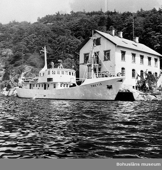 """Enligt uppgift: """"Undersökningsfartyget """"Thetis"""" vid Bornö Hydrografiska station i juni 1962""""."""