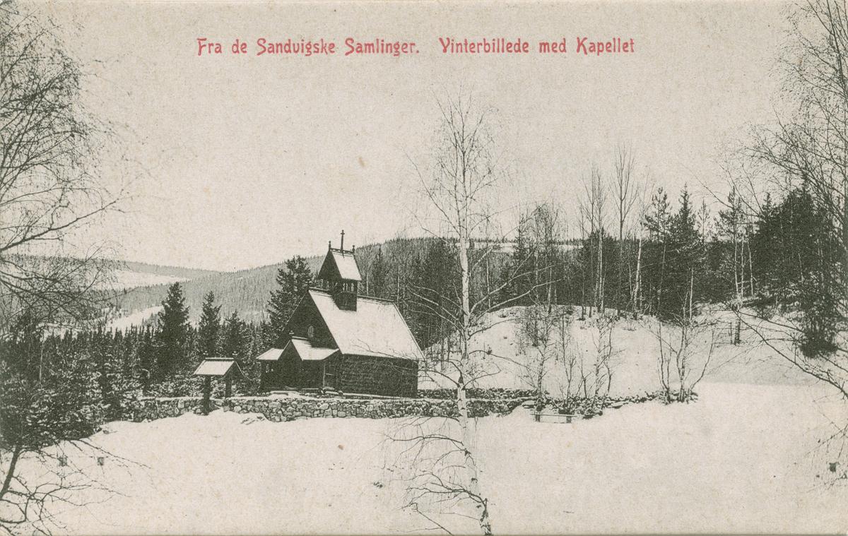 Repro: Maihaugen, Garmo stavkirke, vinter, postkort, fram og bakside.