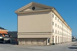 Miljö med byggnader i Karlskrona.
