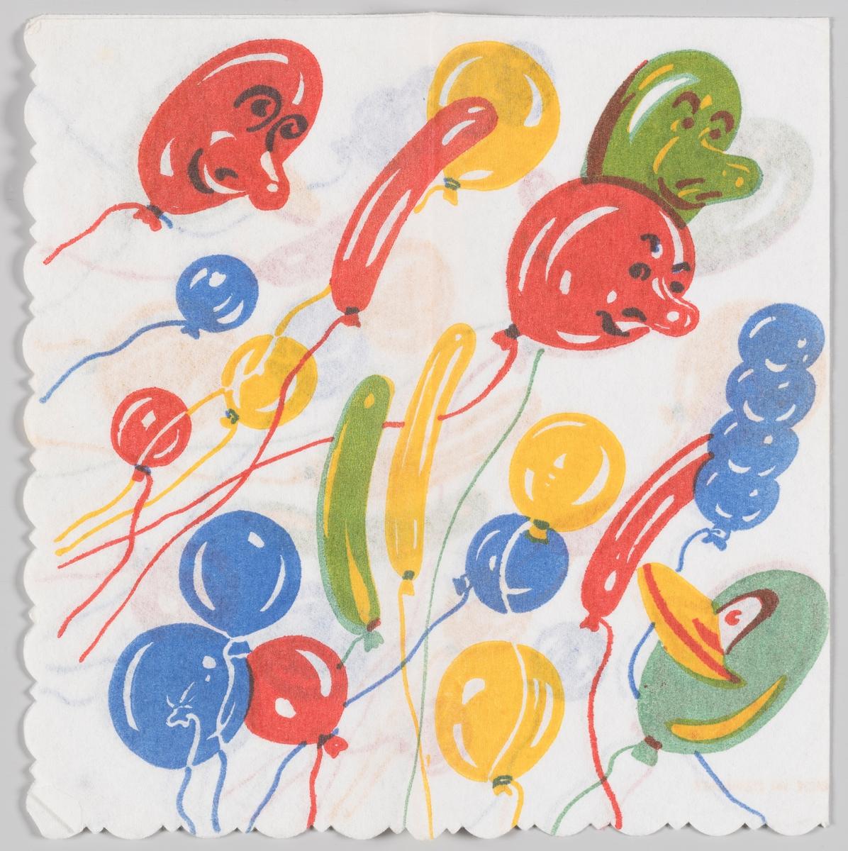 Mange ballonger i forskjellige farger og fasonger. Flere av ballongene har fjes.