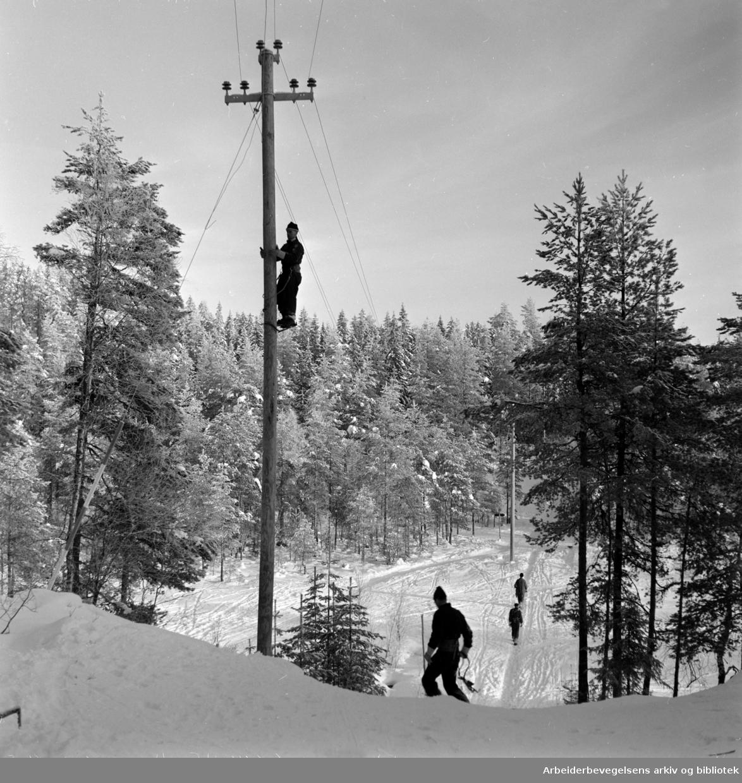 Østmarka: Sandbakken, Lysløypa. I går ble lyset i Østmarka tent. Januar 1959