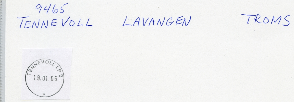 Stempelkatalog 9465 Tennevoll, Salangen, Troms