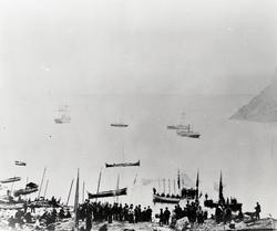 Kong Oscar II ilandstigning i Hornvika. 02.07.1873. (Origina