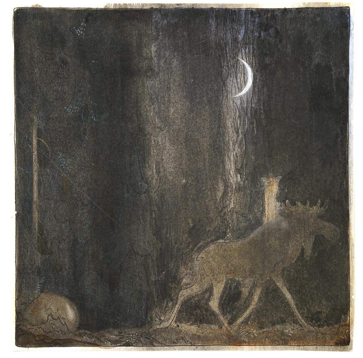 Akvarellmålning med detaljer i gouache, tusch och blyerts. Prinsessan Tuvstarr rider på älgtjuren Skutt i skogen. Månen lyser på den mörka himlen. Mörkt grå och brun färgskala med ljusa detaljer.  Baksida: Skisser.