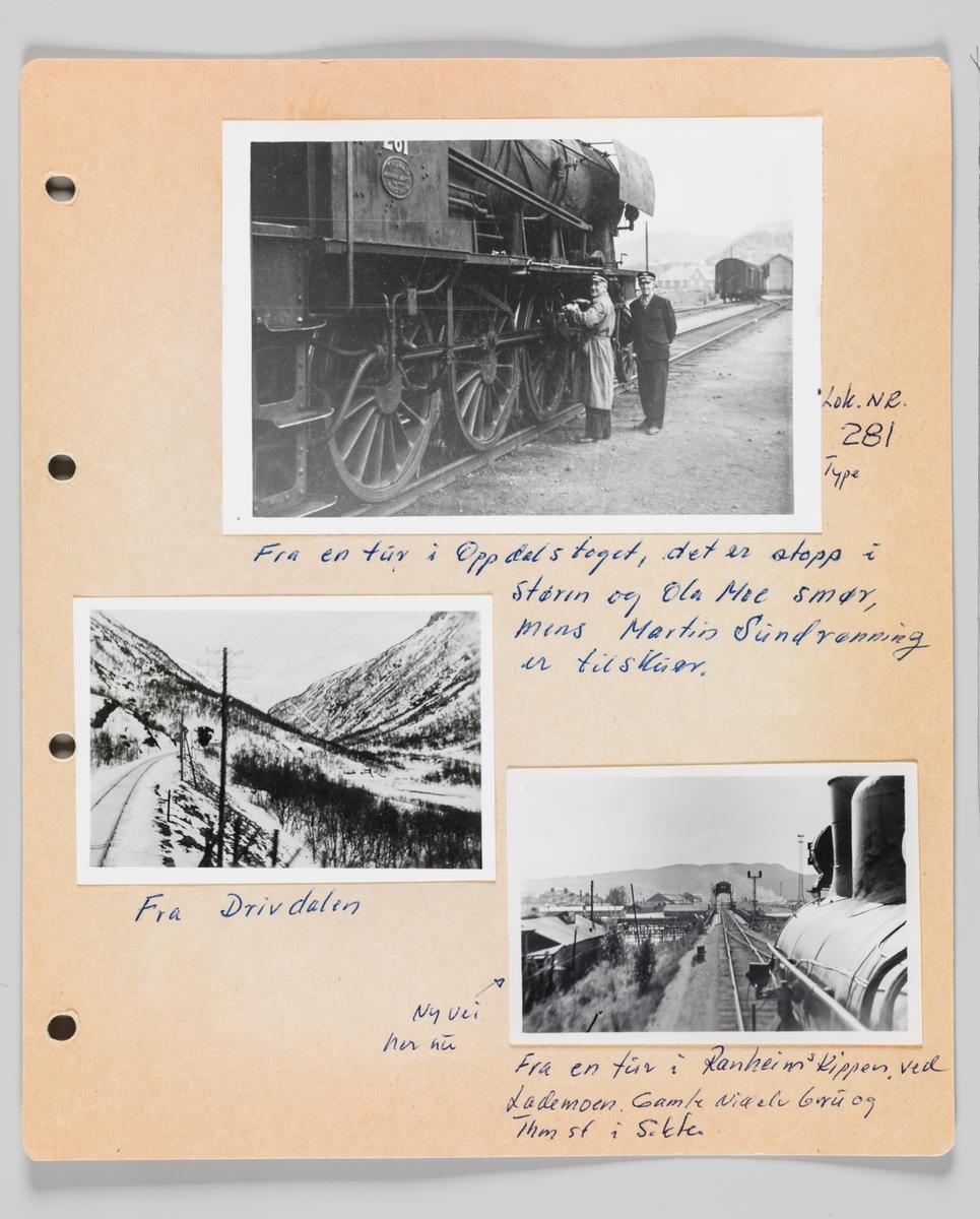 Fotoalbum utlånt av pensjonert lokomotivfører Alf Erling Selvik.