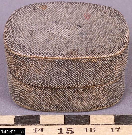 Anmärkningar: Ask, 1800-tal.  Rektangulär ask med rundade kanter. Utvändigt är asken klädd med skinn (troligen orm). Invändigt är asken förgylld (bild 14182__b). H:30 L:50 Dj:40  Tillstånd: Skador invändigt.  Negativnummer: X-2692