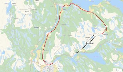 Kart omkjøring Olavsgruva