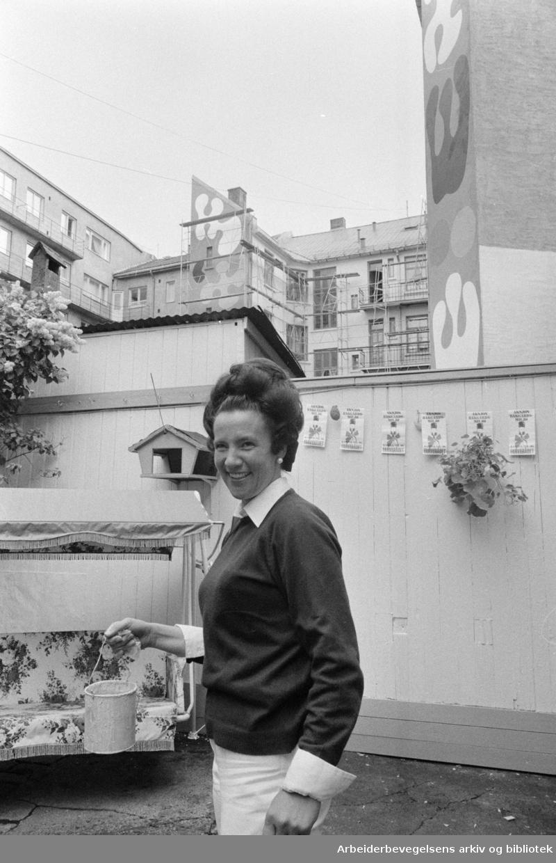 Kampen. Gamle gårder. Bakgårdsaksjon. Formann for aksjonen, Eva Bull-Lund. Juni 1972