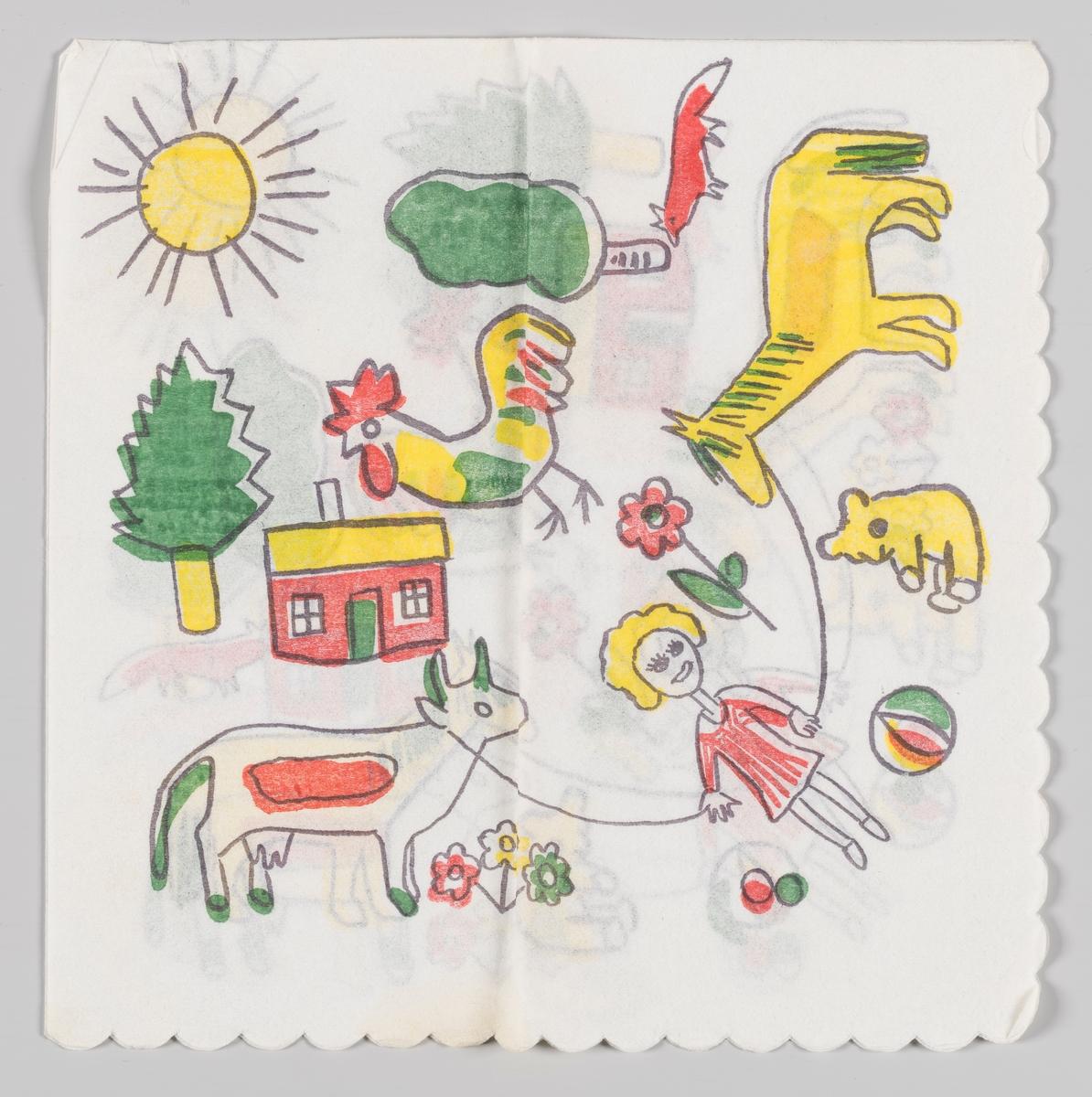 En jente hopper i hoppetau mellom en ku og en hest omgitt av en bamse, baller, blomster, en hane, et hus, en rev, trær og en strålende sol.