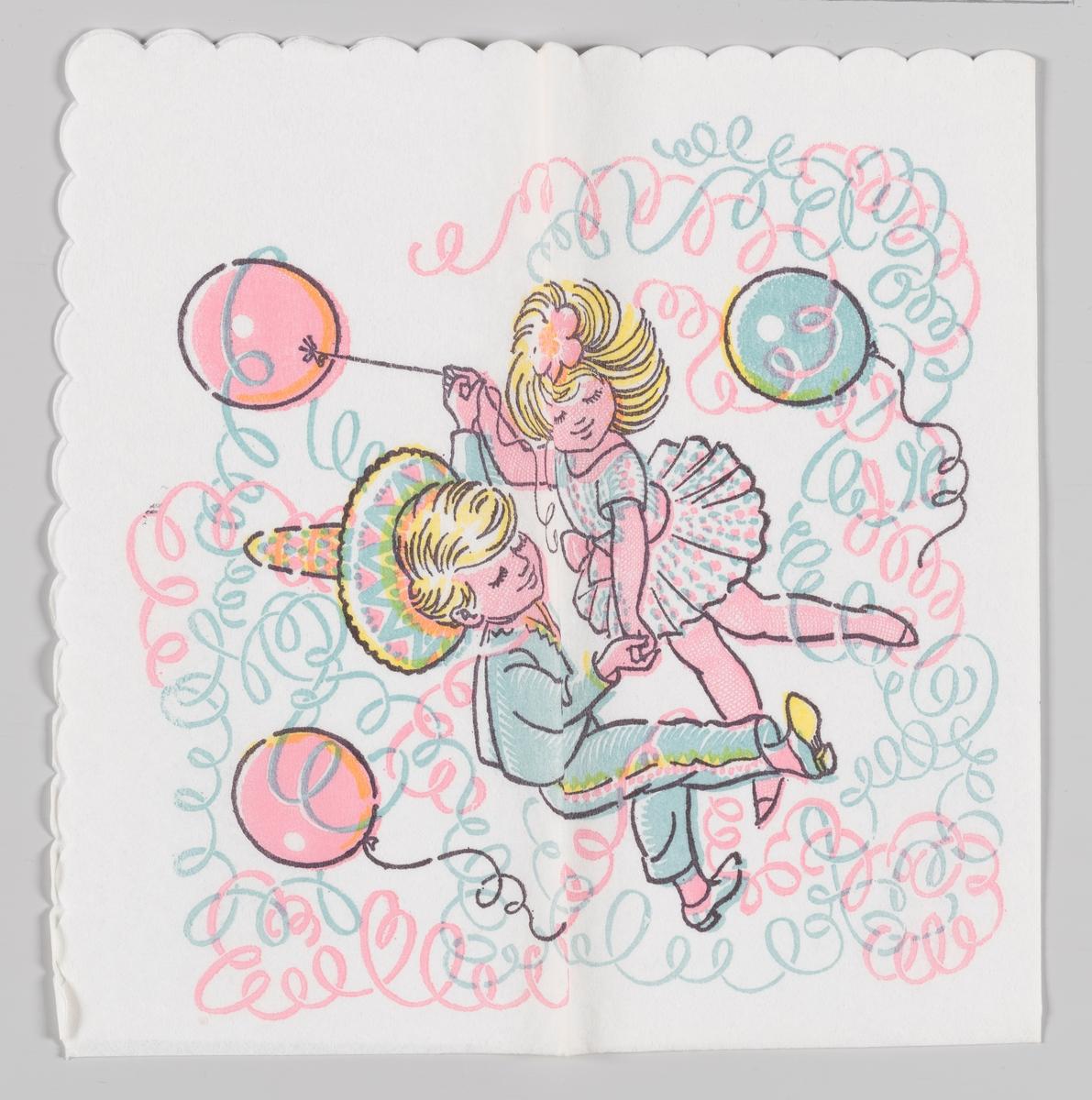 En gutt med meksikanerhatt og en jente danser blant ballonger og papirgirlander