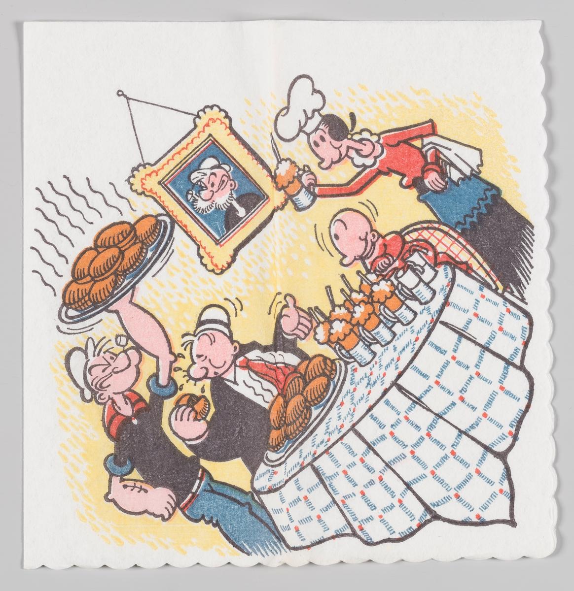 Skipper`n kommer bærende med middagen til familien. Olivia kommer med drikke.  Skipper`n på engelsk kal Popeye the Sailor er en amerikansk tegneserie og tegnefilmfigur. Han ble skapt av Elzie Crisler Segar og ble første gang presentert i 1929. Skipper`n ble svært populær i Norge. I 1947 til 1959 utga Allers et ukentlig serieblad med figuren, 1967-1970 utga Romanforlaget serien.  Skippen er også motiv på serviett MIA.00007-003-0052.