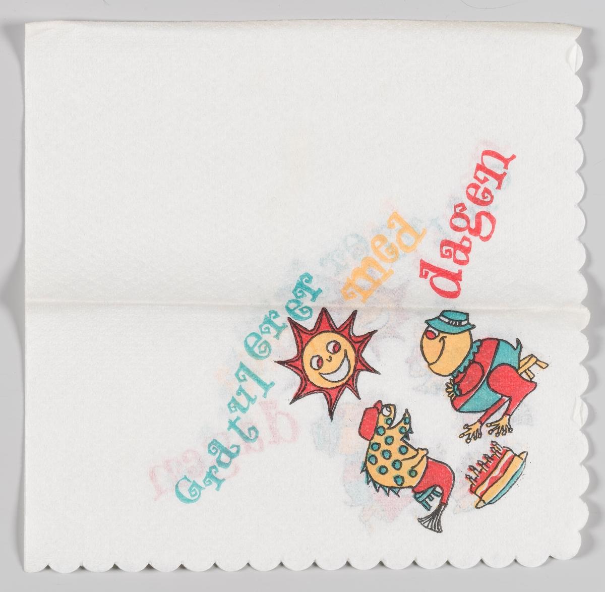 To fargerike figurer spiser bursdagskake og en smilende sol ser på.