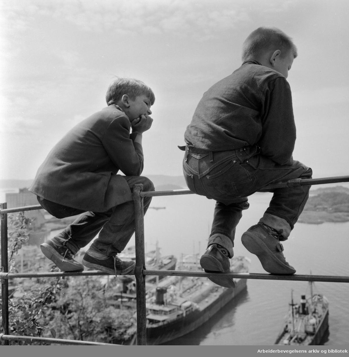 Ekeberg: Utsikt fra Sjømannskolen. Juni 1960
