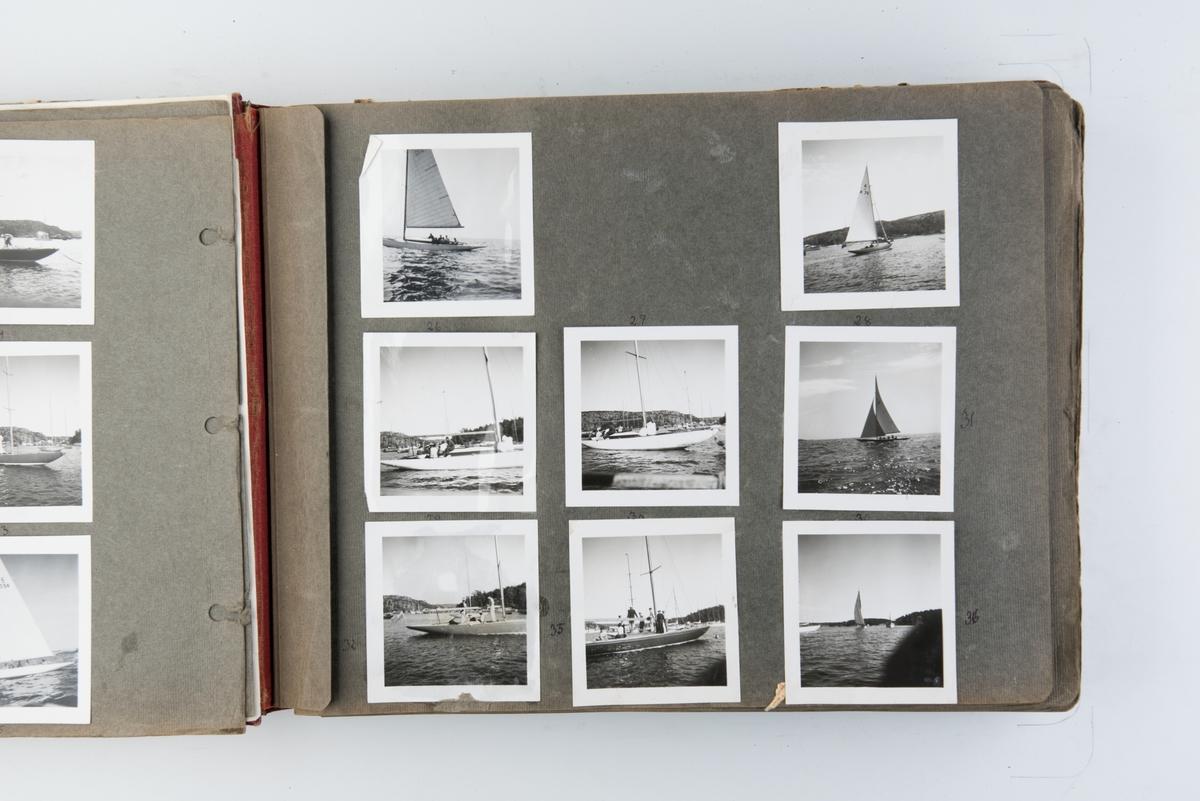 Album med fotografier av sportsseilere og miljøet omkring dem 1949-1951. Fotografert av Grethe Bruu. Album nr. 1.