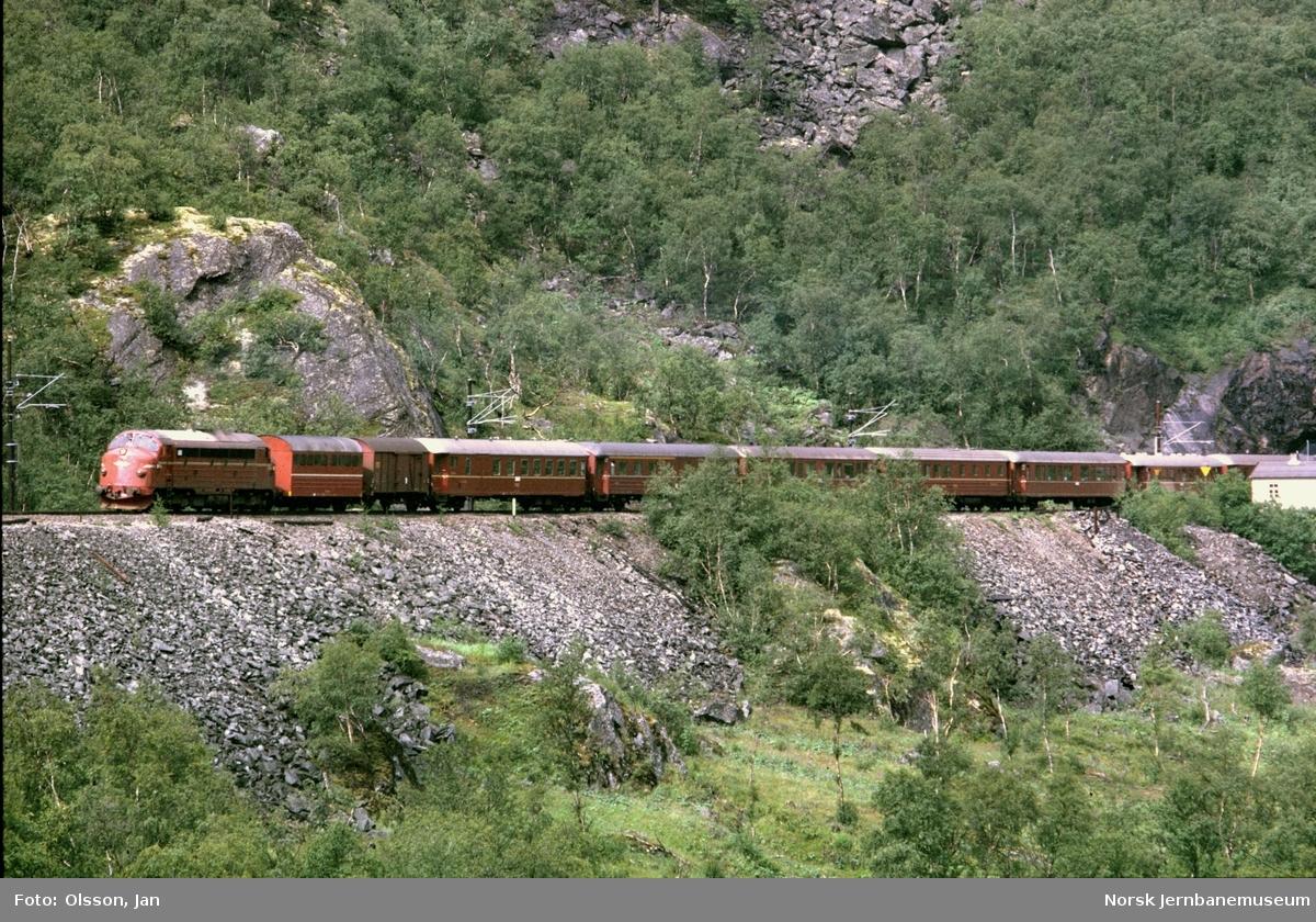 Dagtoget fra Trondheim til Oslo Ø i Drivdalen nær Kongsvoll. Toget trekkes av diesellokomotiv type Di 3 nr. 602.