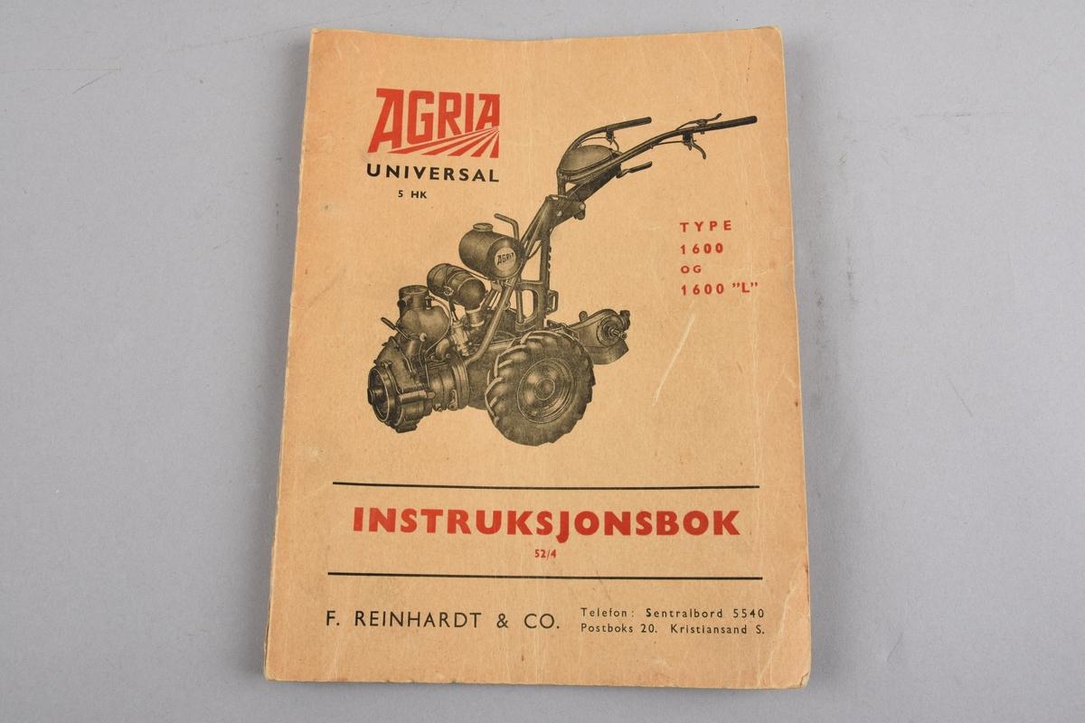 """Instruksjonsbok for Agria 1600 og 1600 """"L"""", tohjuls traktor som kan med tilbehør kan brukast som radrensar, snøfresar, til hypping, som slåmaskin, plog og koplast til tilhengar, sprøytevogn. Instruksjonsheftet vilse dei ulike bruksområda, og har rettleiing for bruken. Hefter er hefta saman med splittbinders."""