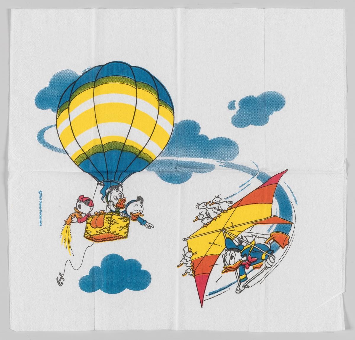 Ole, Dole og Doffen flyger i en ballong og Donald Duck kretser rundt dem med en hanglider