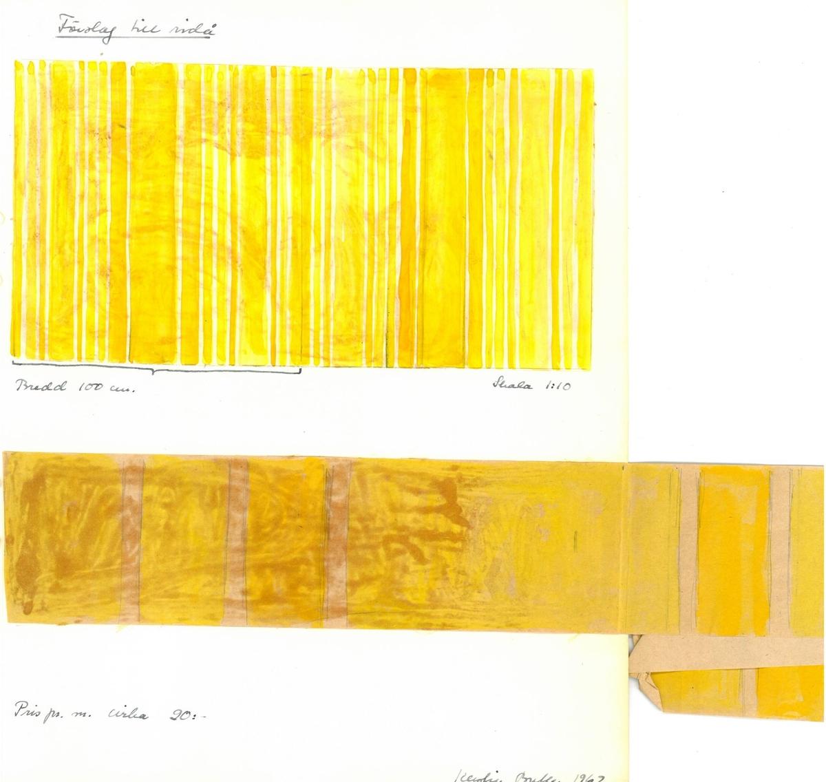 """Skiss till draperi. Formgivare: Kerstin Butler """"Förslag till ridå. Skala 1:10"""""""