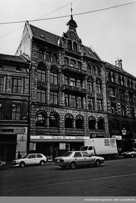 Akersgata nr.63, før rivingen begynte. November 1985