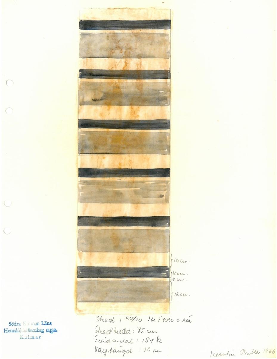 Skiss till trasmatta. Formgivning: Kerstin Butler 1966