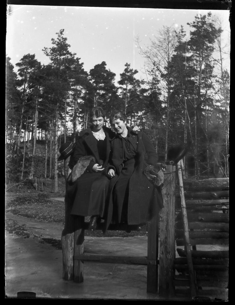 Tulli Thorsell med vän, båda klädda i svart, sitter på en grind eller ett staket. På marken ligger is.