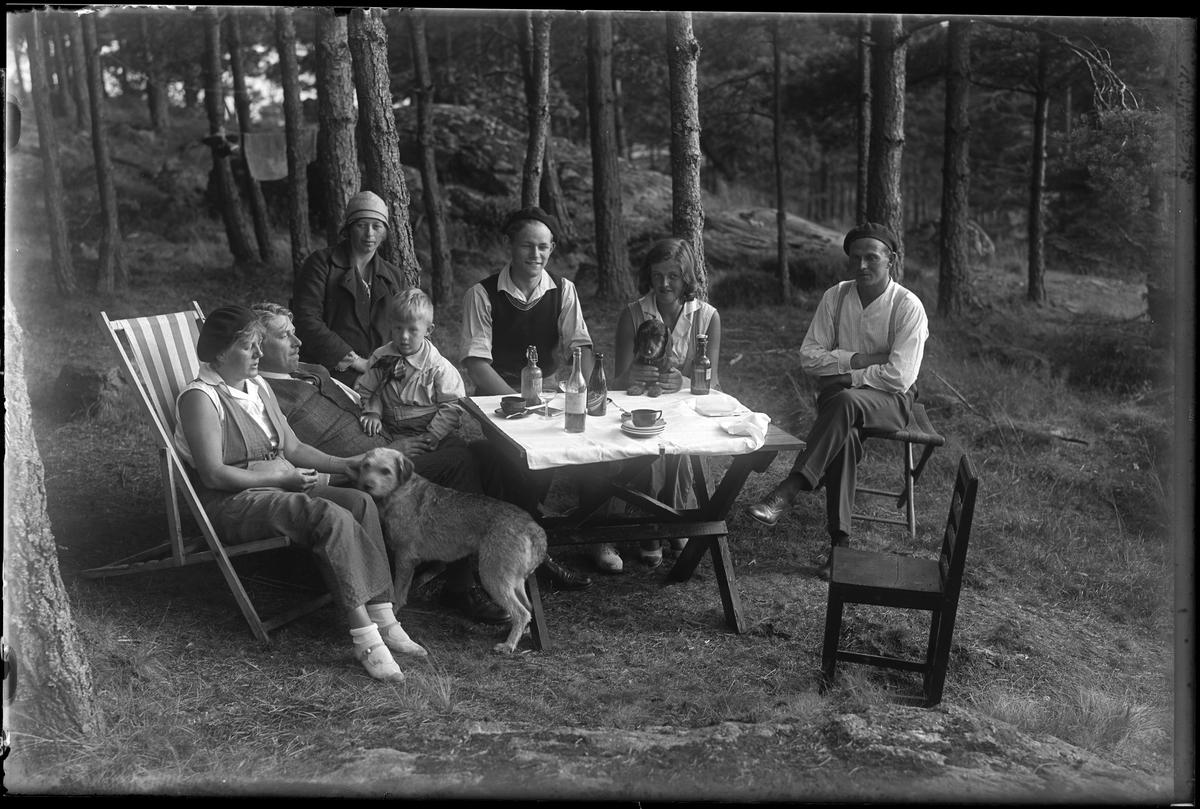 """Sex vuxna, ett barn och två hundar samlade utomhus runt ett bord. På bordet står koppar, fat, glas, flaskor och ett cigarettetui. I fotografens egna anteckningar står det """"Greta Nilssons ö (Kaffebordet)."""