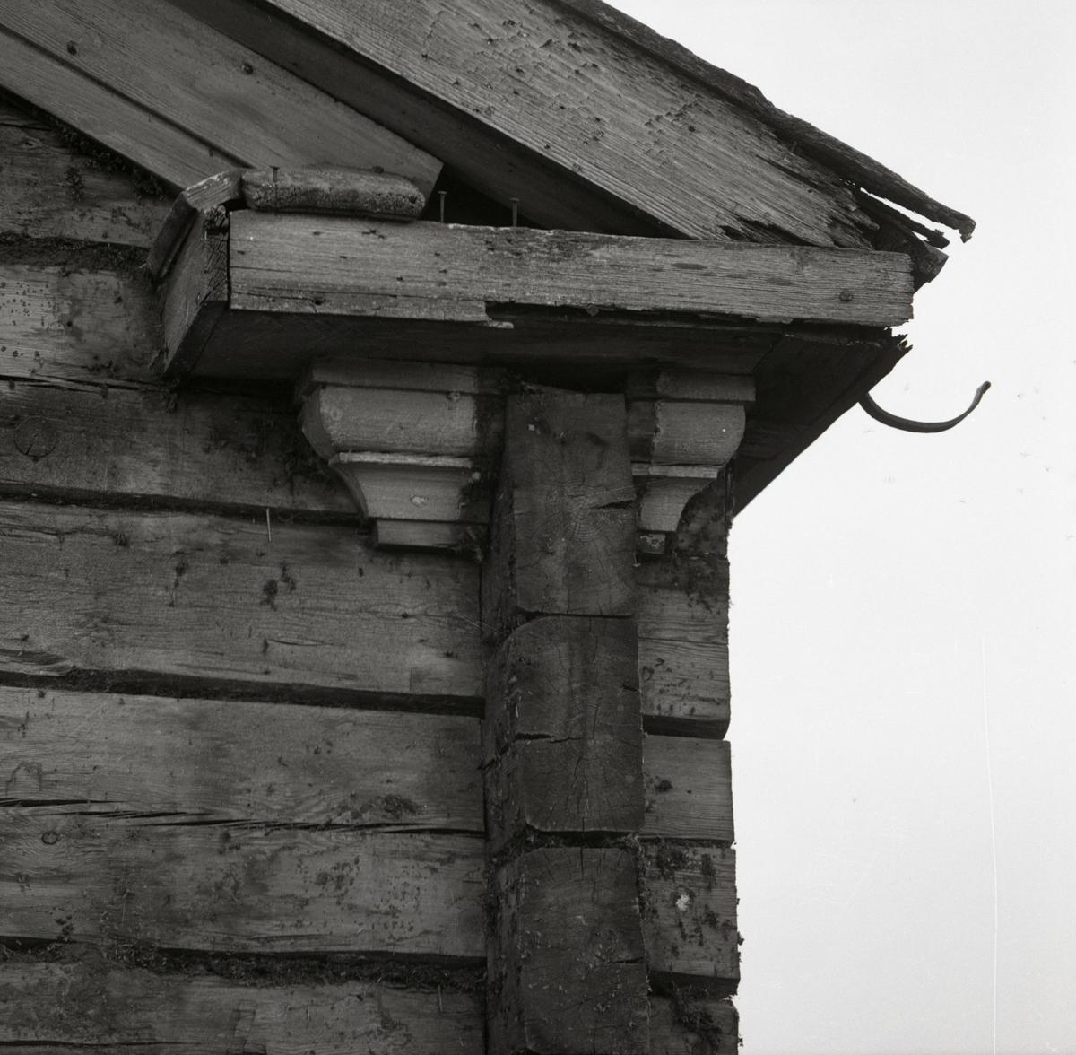 En timmerknut på Västergården i Rengsjö, 1967.