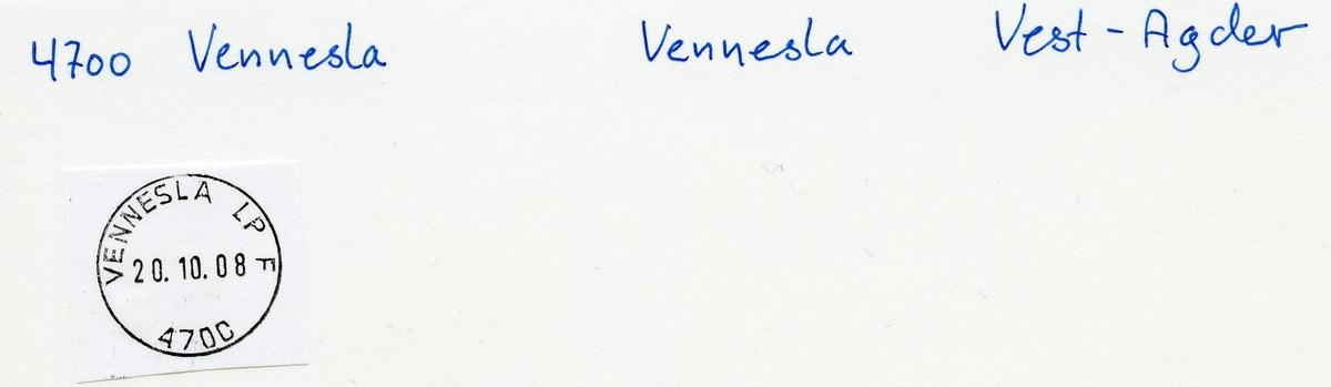 Stempelkatalog 4700 Vennesla, Vennesla, Vest-Agder