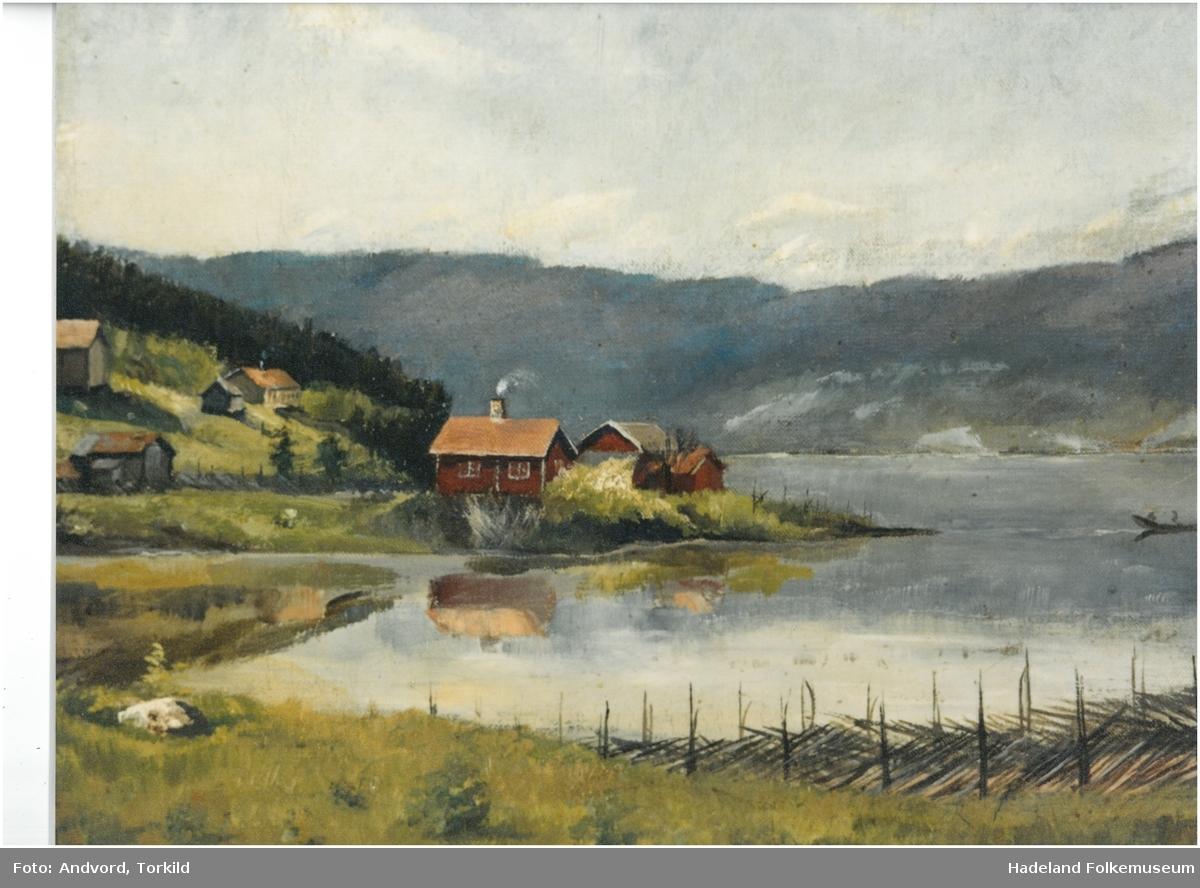 Maleri av en husmannsplassen Ulsnestangen ved Randsfjorden.