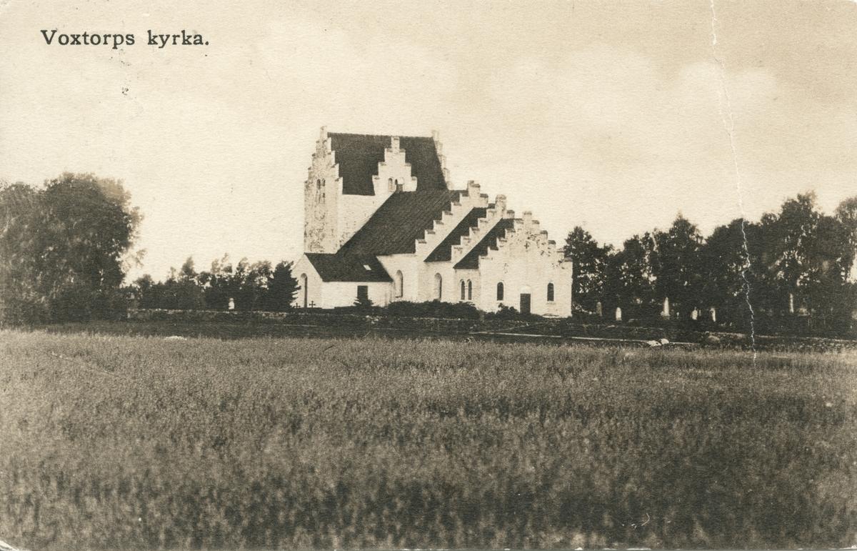 Vykort med Voxtorps kyrka, skickat till Lizette Nyberg i Göteborg år 1903.