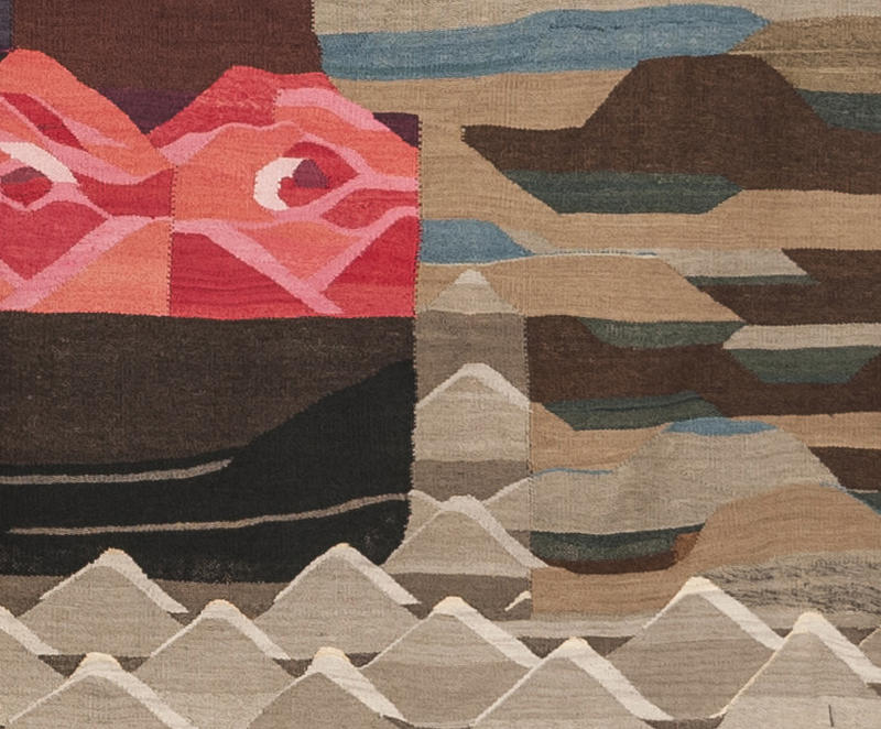 "Detail of Hannah Ryggen ""6 October 1942"" (1943). Hannah dreamed of leaving Ørland for England, by boat over the ocean."