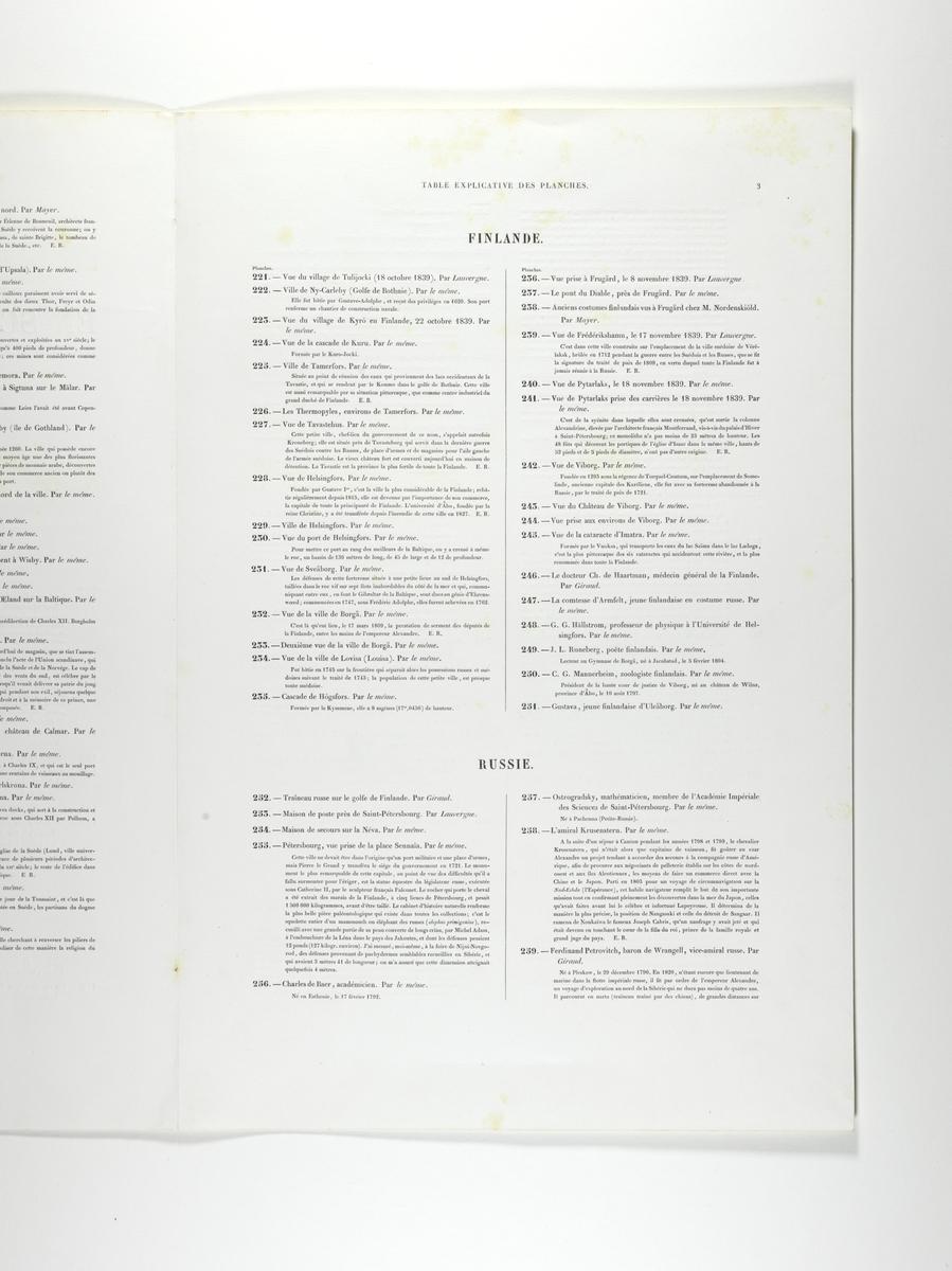 Plansjeregister med nummerert, kort beskrivelse av plansjene/litografiene. Fransk tekst.